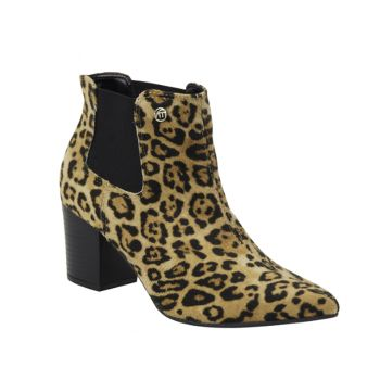Bota Chelsea Via Marte Animal Print Leopardo
