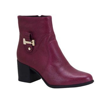 c23f812496 Bota Feminina Bottero Ankle Boots Vinho Couro ...