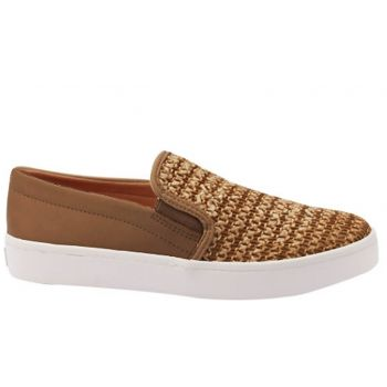 Slip On Feminino Palha Camel Via Uno