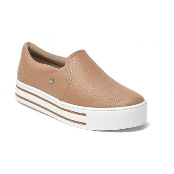 Slip On Feminino Faltform Camel Via Marte